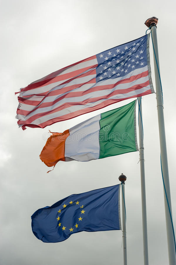 American,Irish and European flags stock images