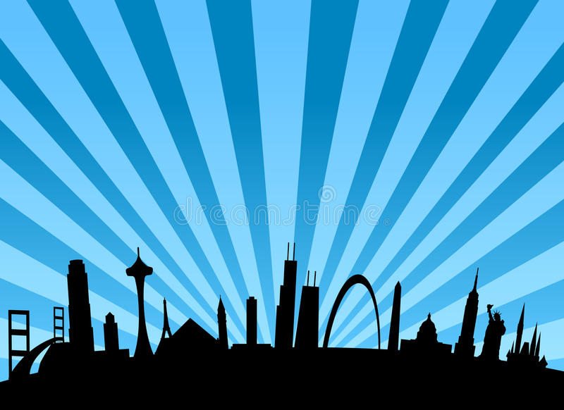 American landmarks all in a row stock illustration