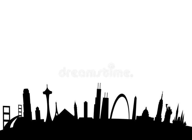 American Landmarks Background Stock Image