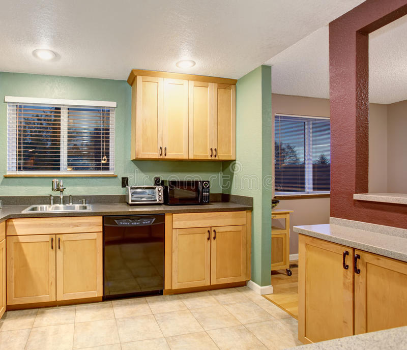 Cabinets With Light Wood Kitchen Designs: American Light Wood Kitchen Interior. Stock Photo