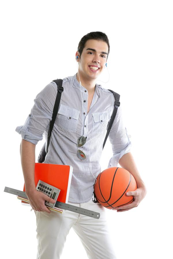 American look student boy with basket ball royalty free stock image