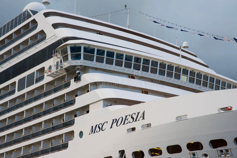 American luxury cruise ship MSC Poesia stock images