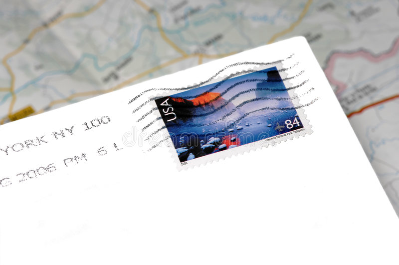 American mail over of map royalty free stock photo