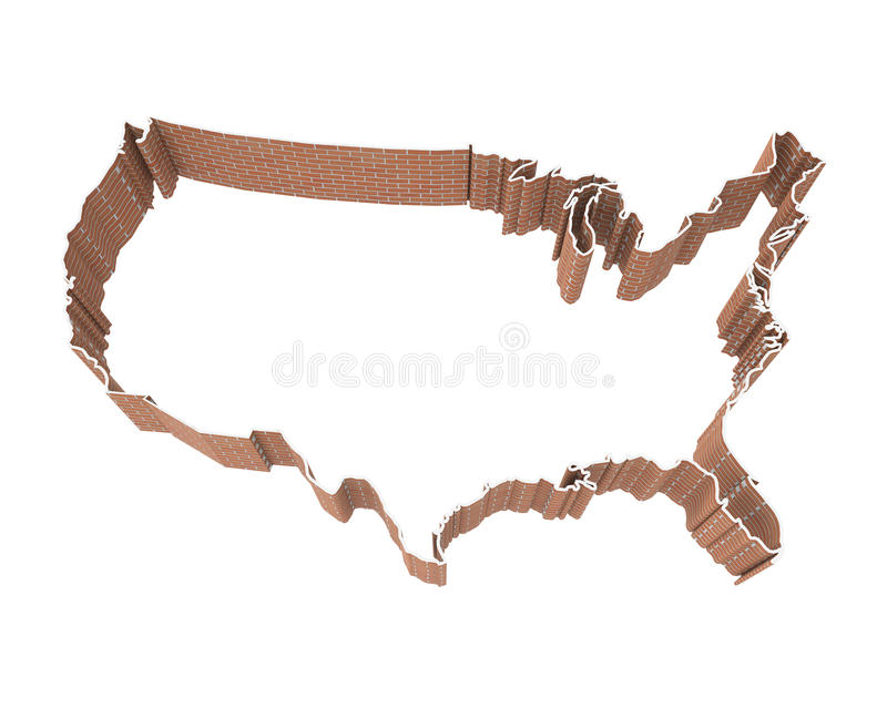 American Map and Brick Wall. Isolated on white background. 3D render royalty free illustration