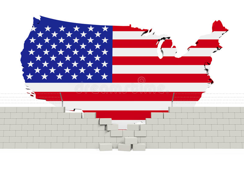 American Map and Brick Wall. Isolated on white background. 3D render vector illustration