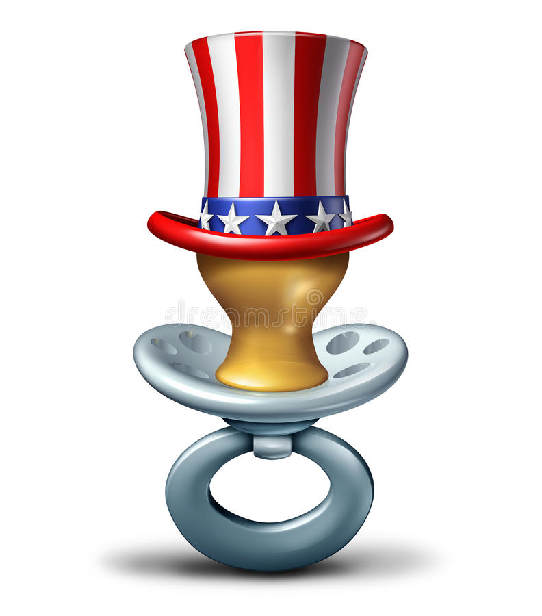 American Maternity. Concept as a baby pacifier wearing a United States flag hat as a pregnancy and early child care icon or adoption in America as a 3D stock illustration
