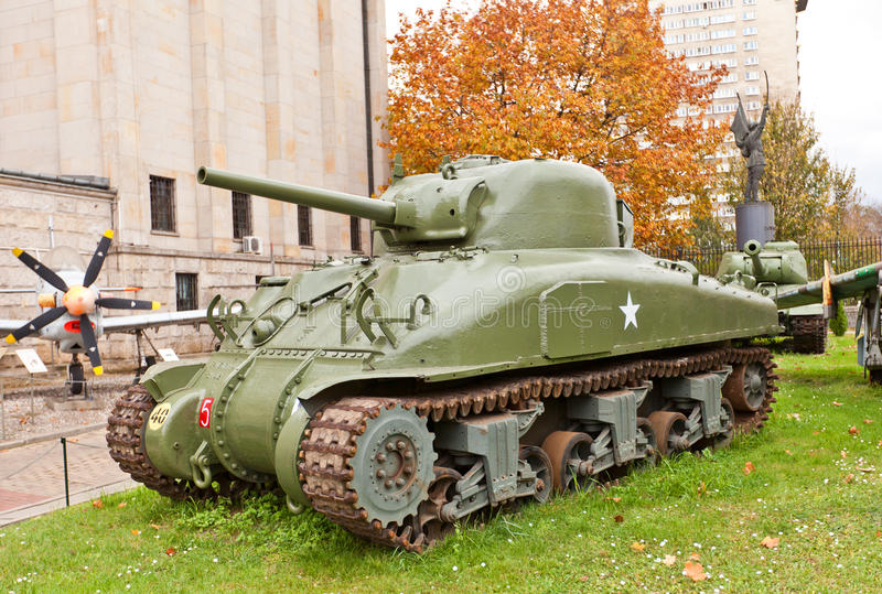 American Medium Tank Sherman M4A1. Sherman Medium Tank M4A1 in Museum of Polish Army in Warsaw, Poland. Primary battle tank used by USA in World War II royalty free stock photos