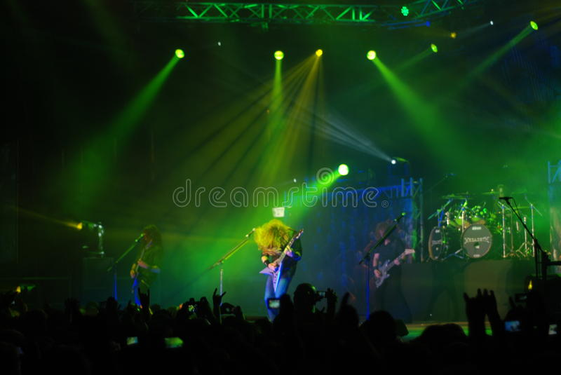 American Metal Band- Megadeth. The Metal band Megadeth playing in Tel Aviv, Israel. April 16th,2011 royalty free stock images