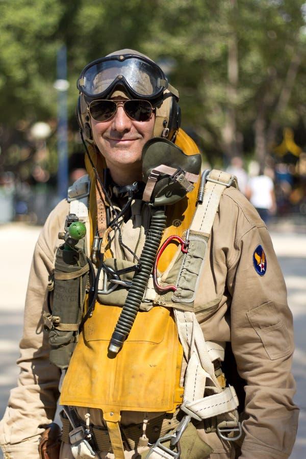 American military pilot. MURCIA, SPAIN - OCTOBER 15: American military pilot during a military parade. Historical military reenacting on October 15, 2011 in stock image