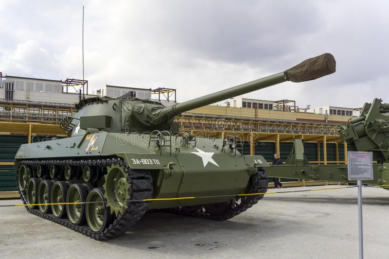 American 76 mm Gun Motor Carriage M18 M18 GMC Hellcat in the museum of military equipment stock images