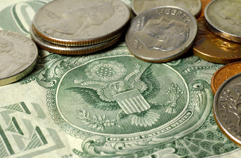American Money. Dollar Bill and Change royalty free stock photos