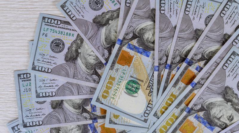 American money lot of dollars close up. Of one hundred dollar bills, wealth, finance, usa, currency, business, 100, paper, cash, banking, investment, green royalty free stock image