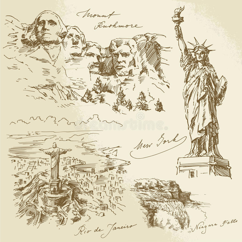 American monuments. Hand drawn collection vector illustration