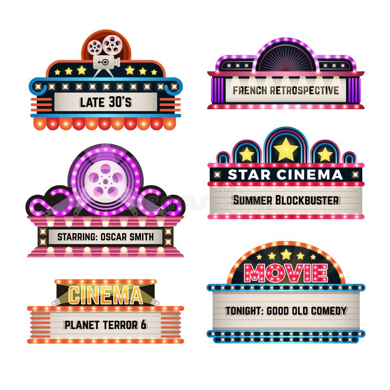 American motel and movie retro signs with light frame. Vintage casino billboards vector set stock illustration