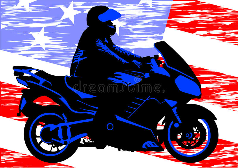 American motorcycle. Drawing a motorcycle on road stock illustration