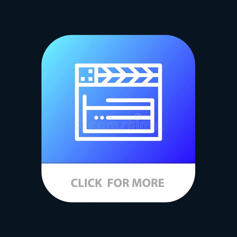 American, Movie, Usa, Video Mobile App Button. Android and IOS Line Version stock illustration