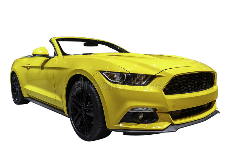 American Muscle Car. Modern American Muscle Car, Ford Mustang Convertible. Isolated with clipping path included royalty free stock image