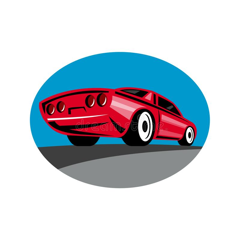 American Muscle Car Oval Retro vector illustration