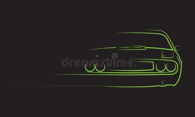Muscle Car Silhouette stock illustration
