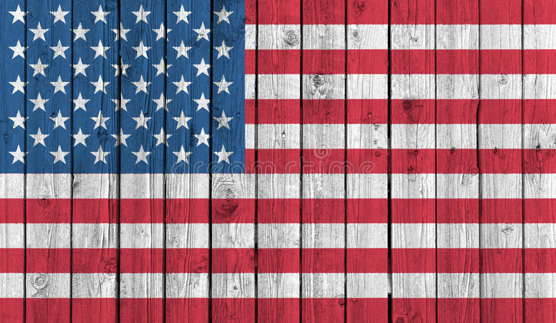 American national flag on old wood background stock photo
