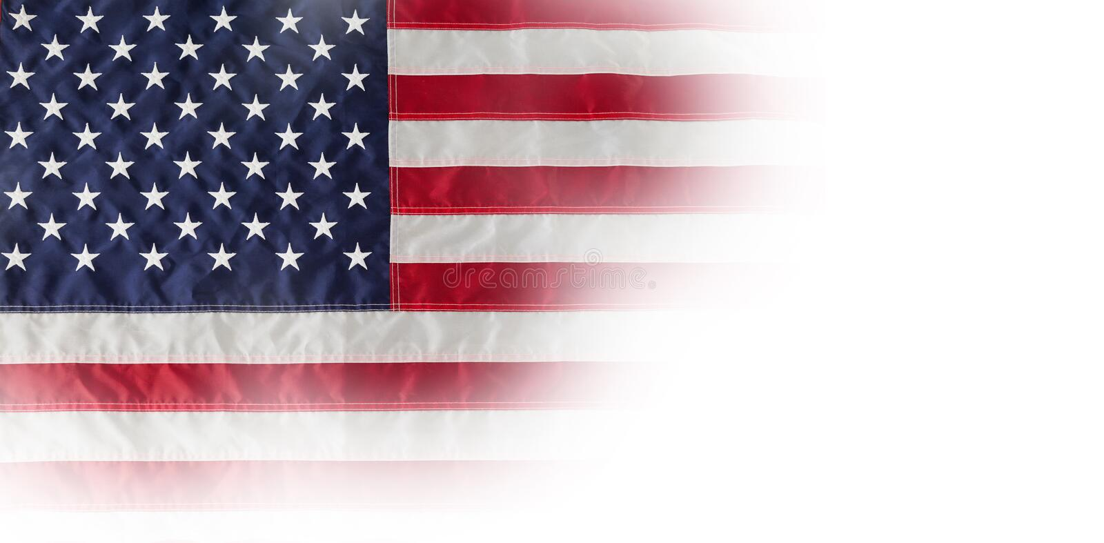 American national flag with stars and stripes. High angle view of American flag with stars and stripes royalty free stock photos