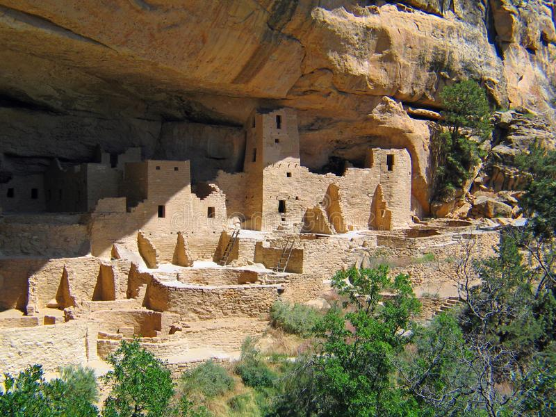 Mesa Verde UNESCO Cliff Dwellings. American national park and UNESCO World Heritage Site located in Montezuma County, Colorado. The park protects some of the stock photo