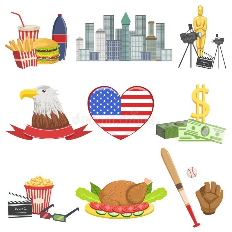 American National Symbols Set Stock Vector Illustration Of Glove