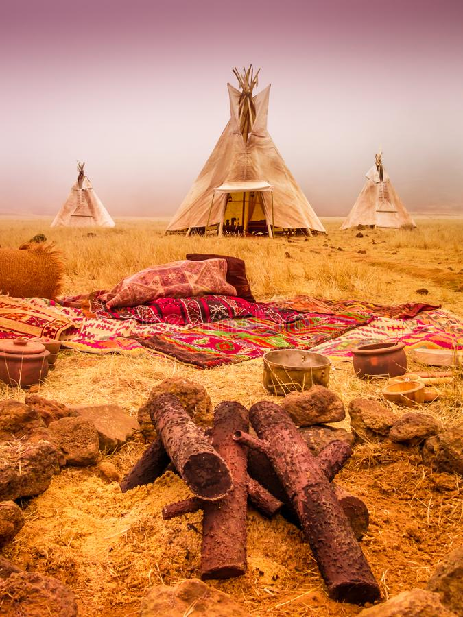 American native tent camp teepees. Teepees tent camp, home of the ancient Native Americans stock images
