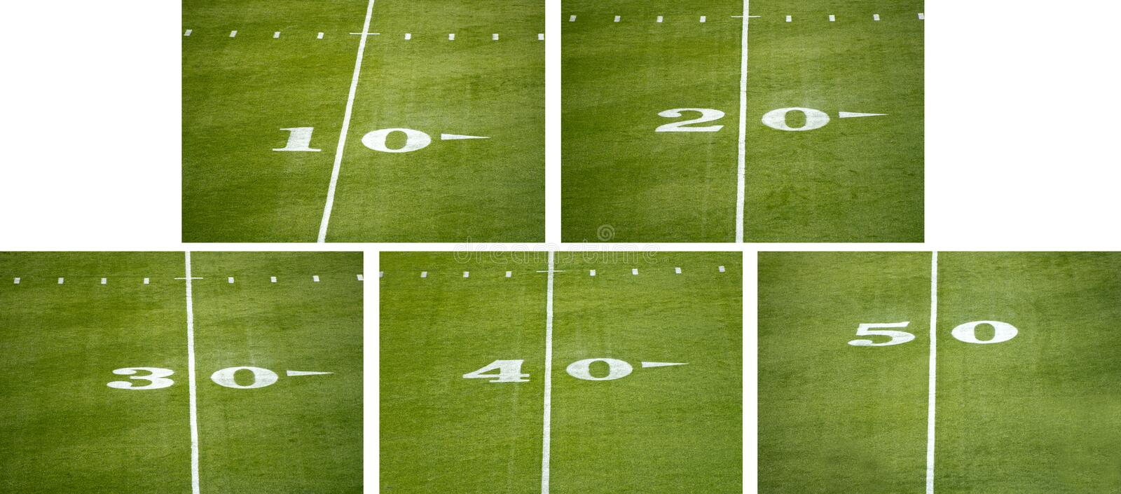 American NFL Football Field Number Line Markers. American NFL or college football field background images with yard line number markers royalty free stock images