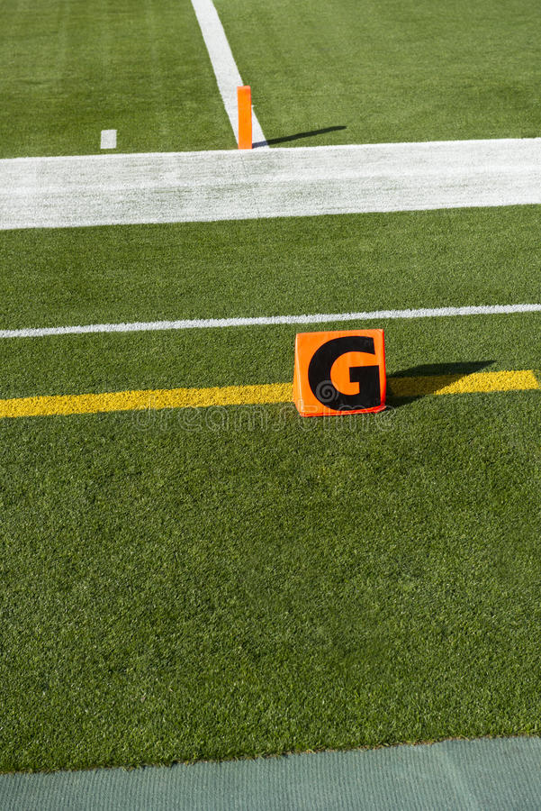 American NFL Football Goal Line Touchdown Marker. NFL American football goal line touchdown field marker. Score stock photo