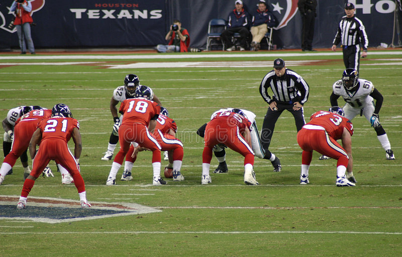 American NFL Football Players. The NFL teams, the Houston Texans and the Jacksonville Jaguars played at Houston for Monday Night Football. The players are ready stock image