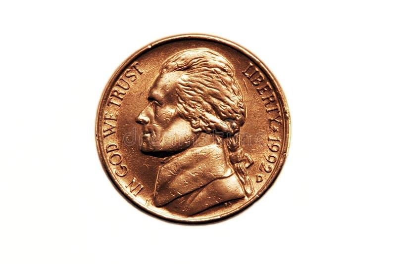 American nickel stock photo