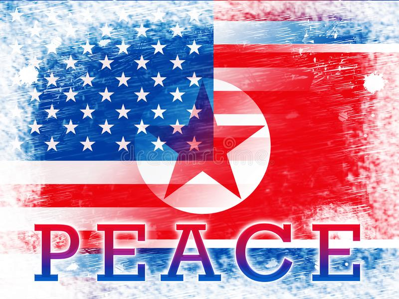 American North Korea Peace Freedom Flag 3d Illustration. Peaceful Meeting And Accord Between United States And Pyongyang Cooperation Talks stock illustration