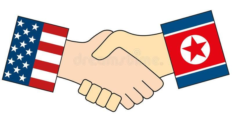 American and the North Korean handshake isolated symbolizes that North Korea leader Kim Jong-un has invited President of USA royalty free illustration