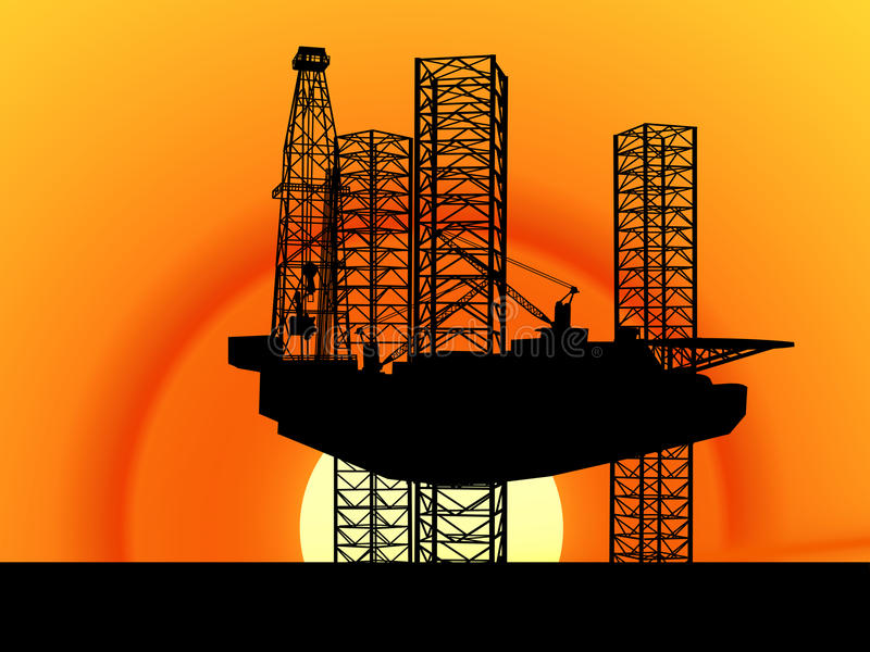 OFFSHORE OIL GAS INDUSTRY ENERGY ENVIRONMENTAL DRILLING RIG TECHNOLOGY. American Offshore Oil and Gas Drilling Rig Silhouette Concept royalty free illustration