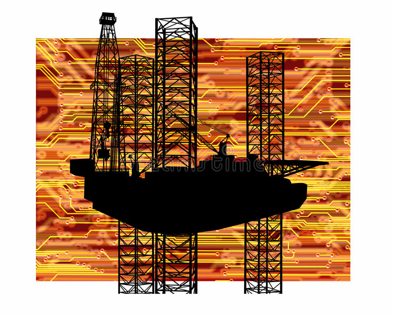 OFFSHORE OIL GAS INDUSTRY DRILLING RIG ENERGY ENVIRONMENT TECHNOLOGY BACKGROUND. American Offshore Technology Oil and Gas Drilling Rig royalty free illustration