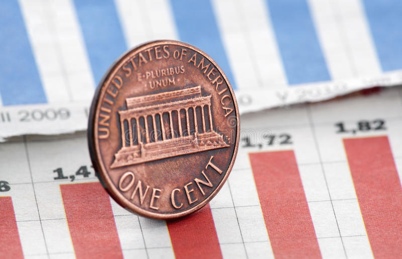 American one cent on newspaper chart stock photo