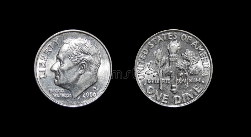 American one dime coin 10 cents isolated on black background royalty free stock images