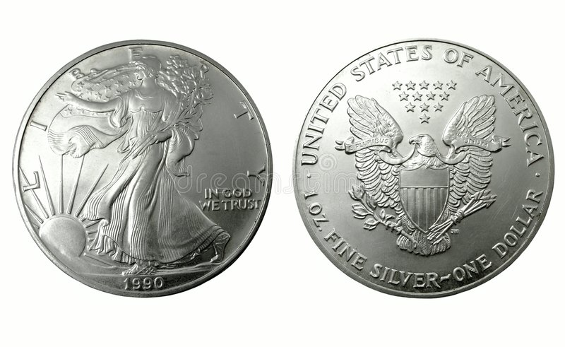 American One Silver Dollar, Two Side Royalty Free Stock Images