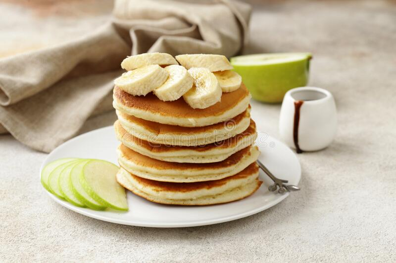 American pancakes for breakfast stock photos
