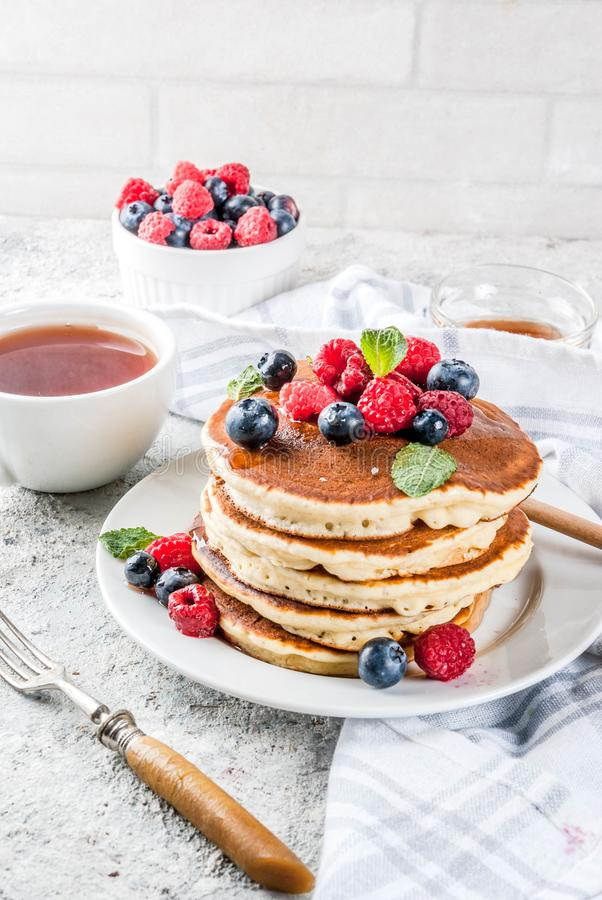 American pancakes with fresh berries stock image