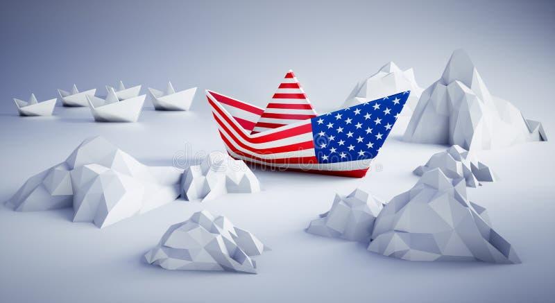 American paper boat in danger stock illustration