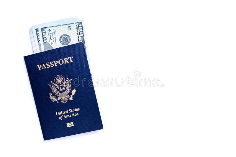 American passport with dollars. Isolated on white background. Mock up stock image