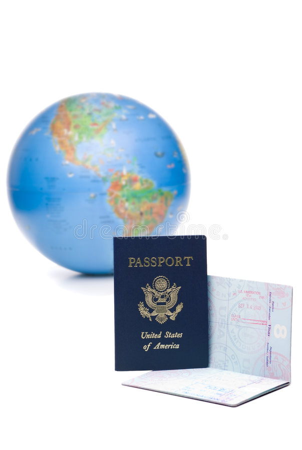 Download American Passports Stamped With Travel Visas In Front Stock Photo - Image: 5209902