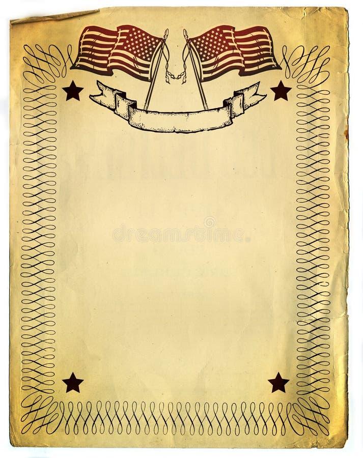 American Patriot Border design on old Broken Paper stock illustration