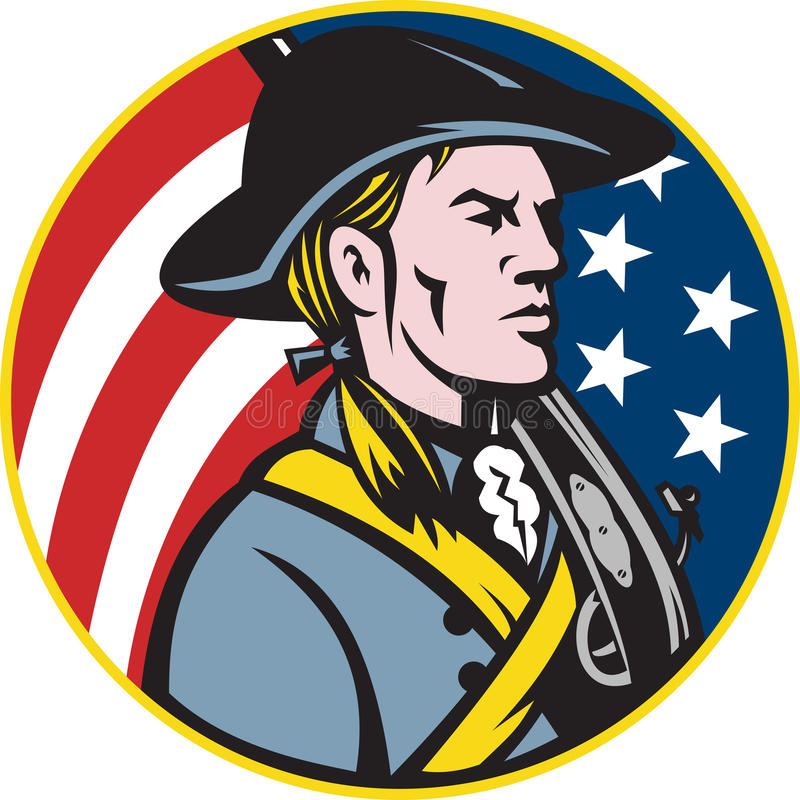 Download American Patriot Minuteman With Flag Stock Vector - Image: 24285681