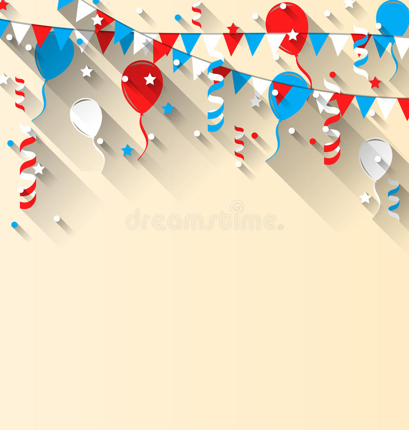 American patriotic background with balloons, streamer, stars. Illustration American patriotic background with balloons, streamer, stars and pennants, in US royalty free illustration