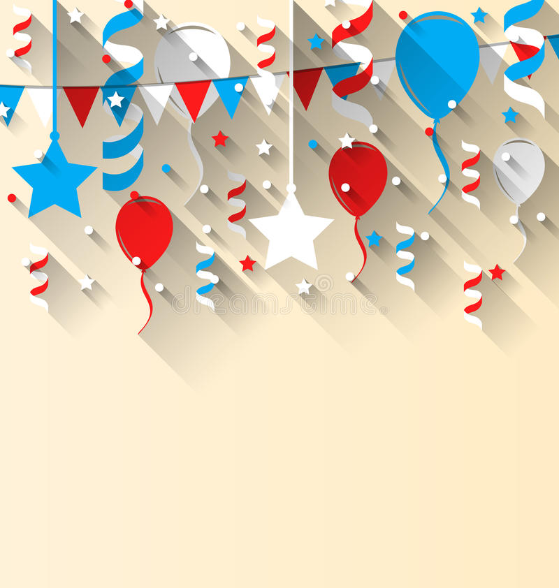 American patriotic background with balloons, streamer, stars. Illustration American patriotic background with balloons, streamer, stars and pennants, in US vector illustration