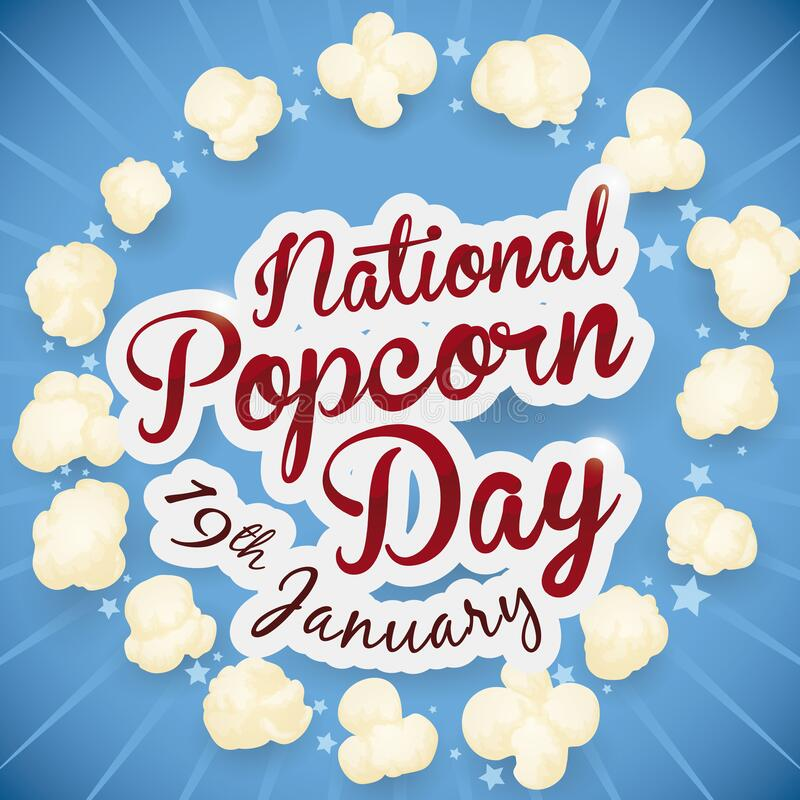 Free American Patriotic Colors With Popped Corns For National Popcorn Day, Vector Illustration Stock Image - 169777441