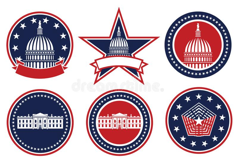 American Patriotic Red, White and Blue, Capital, White House and Pentagon Logos Isolated Vector Illustration royalty free stock photos